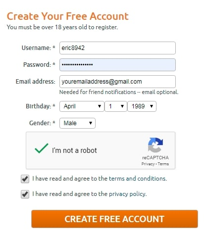 Chaturbate Register User Account